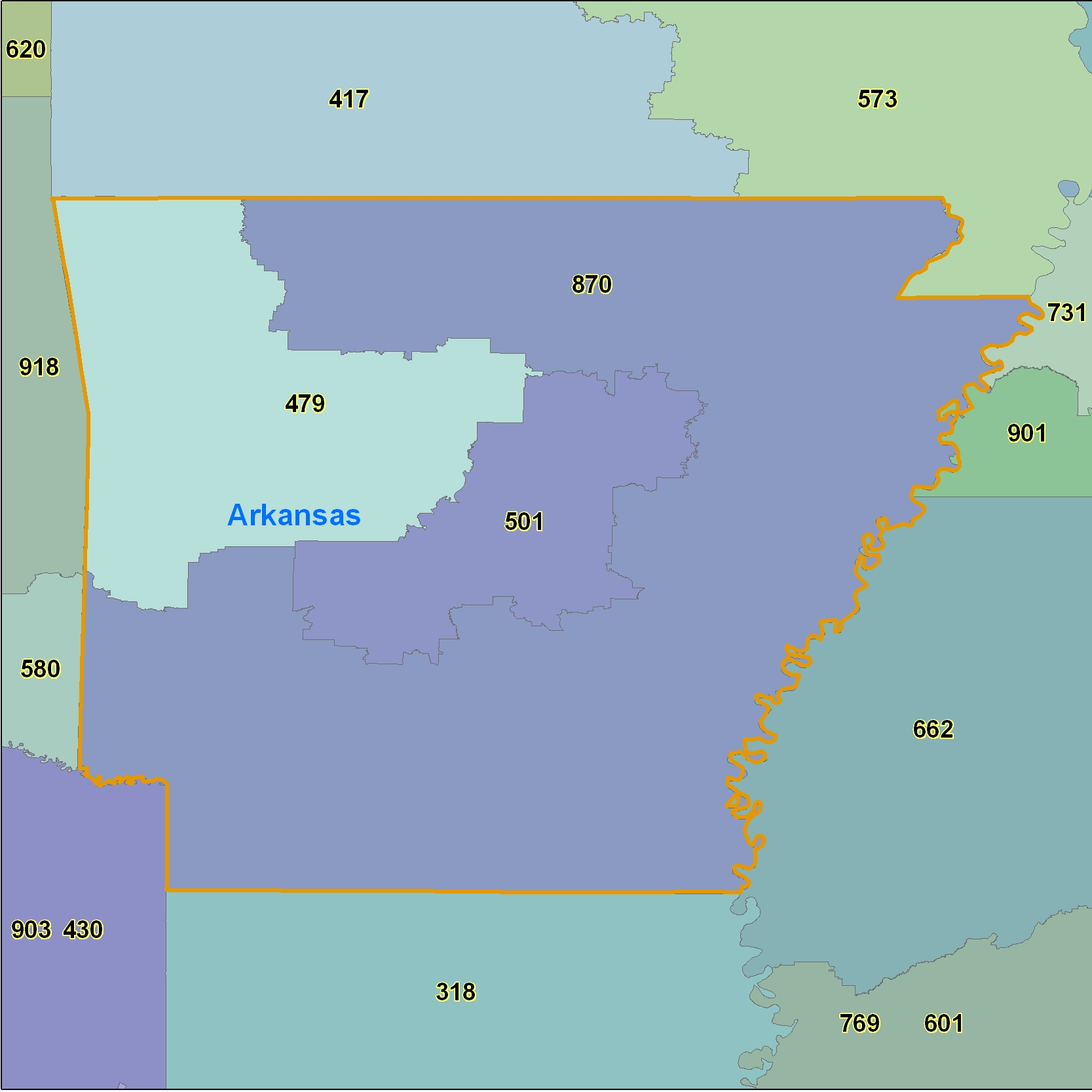 Arkansas (AR) Area Code Map