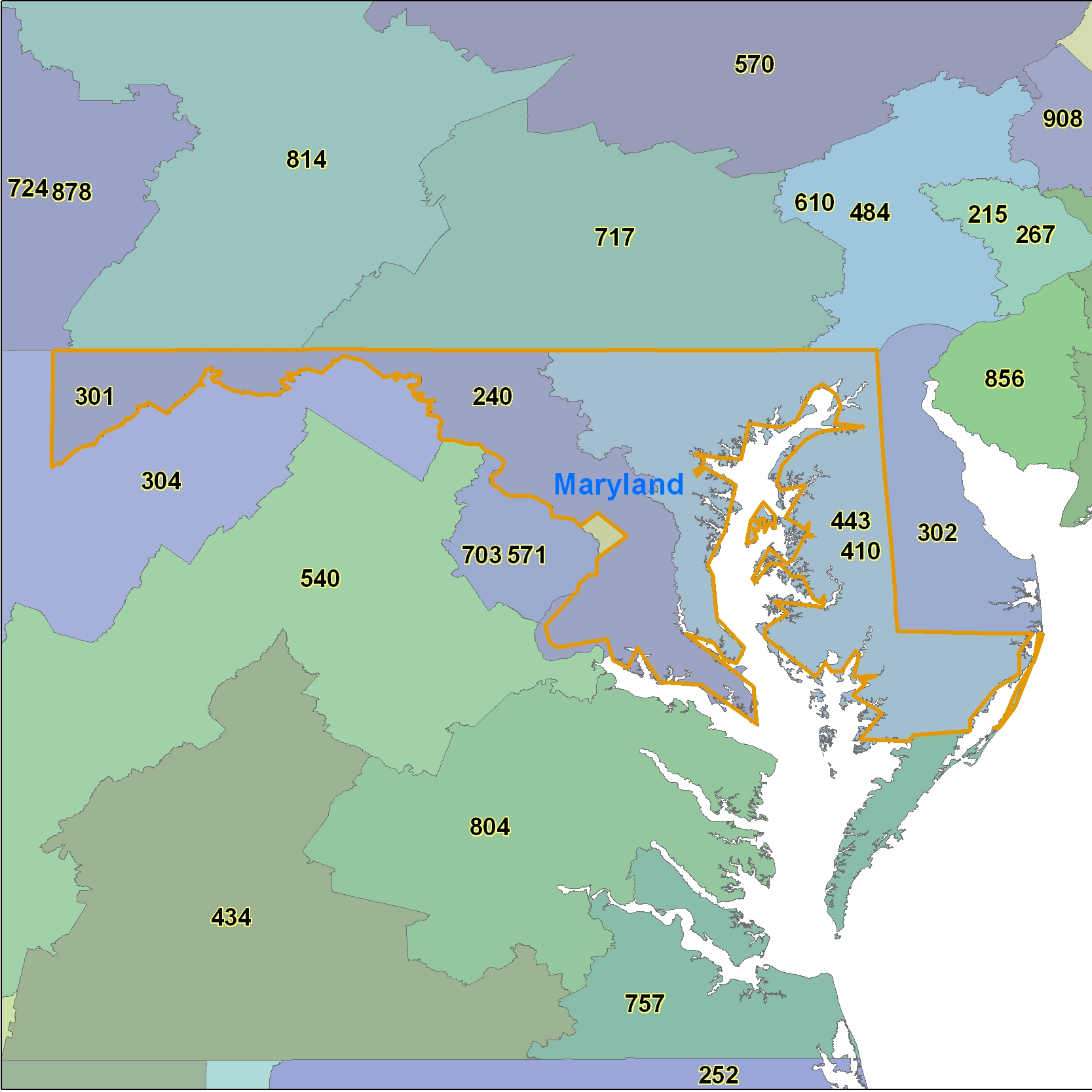 Maryland (MD) Area Code Map