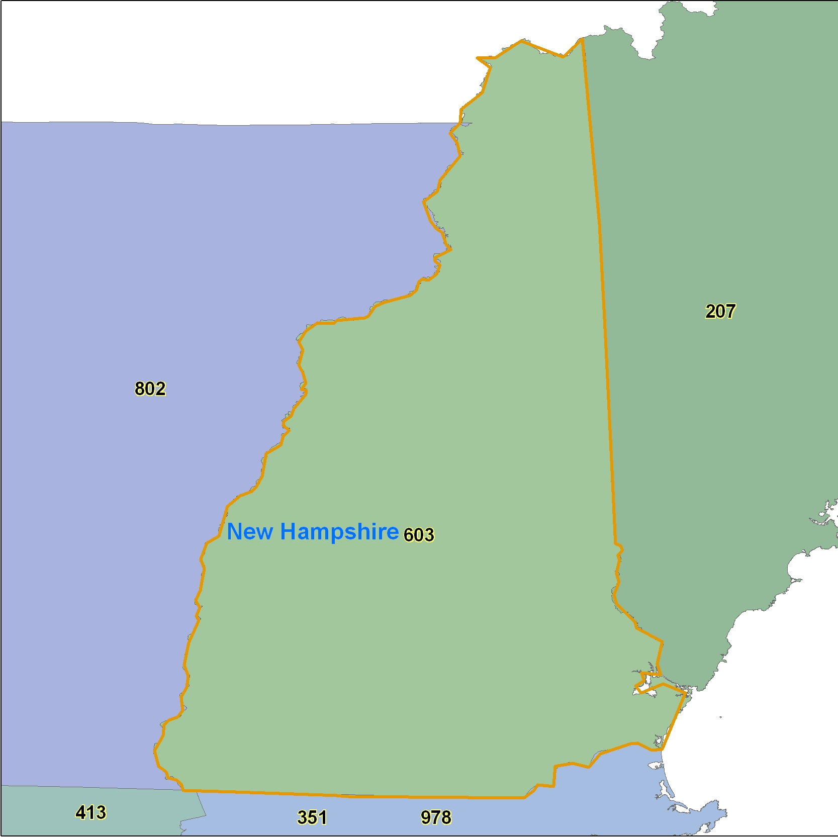 New Hampshire (NH) Area Code Map