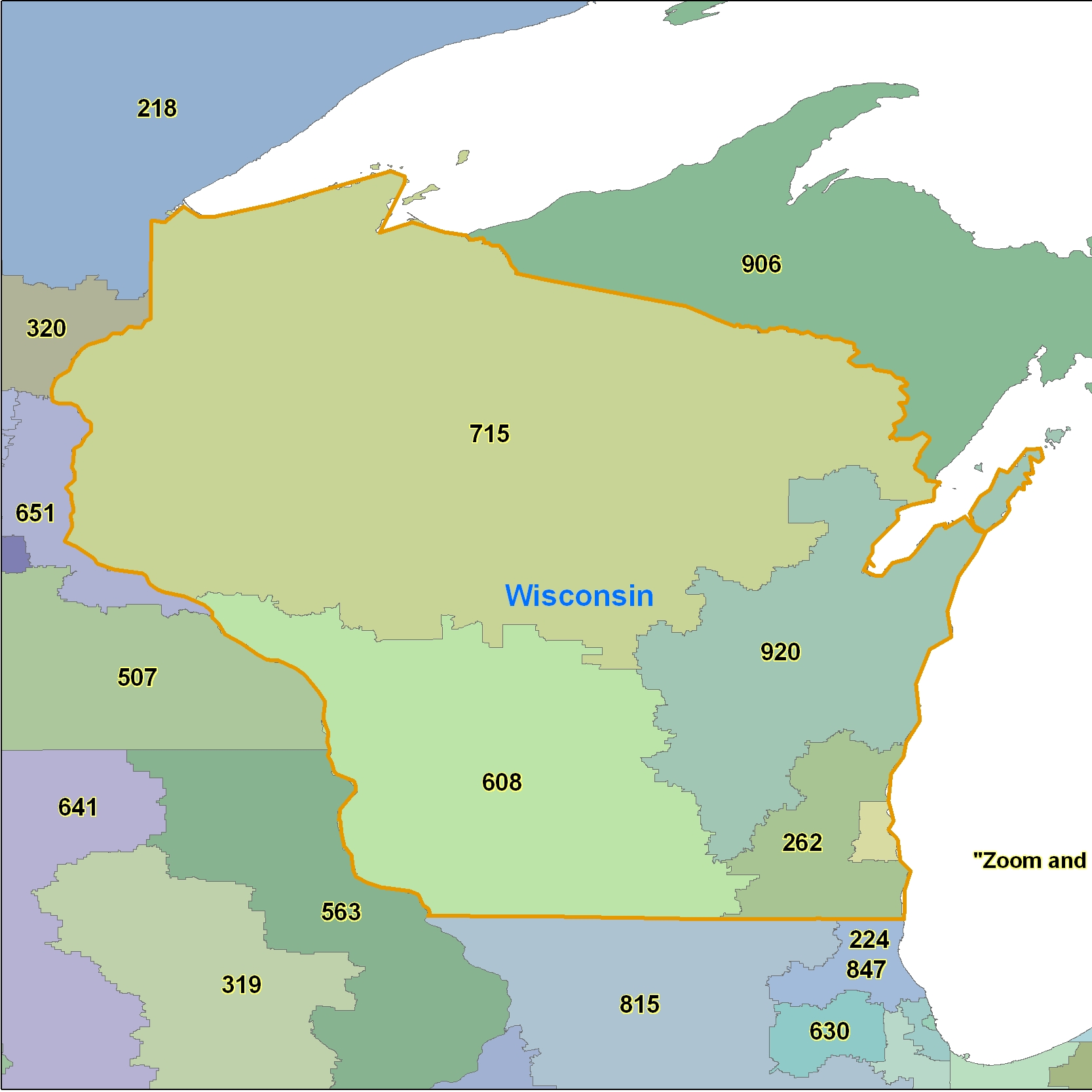 Wisconsin (WI) Area Code Map