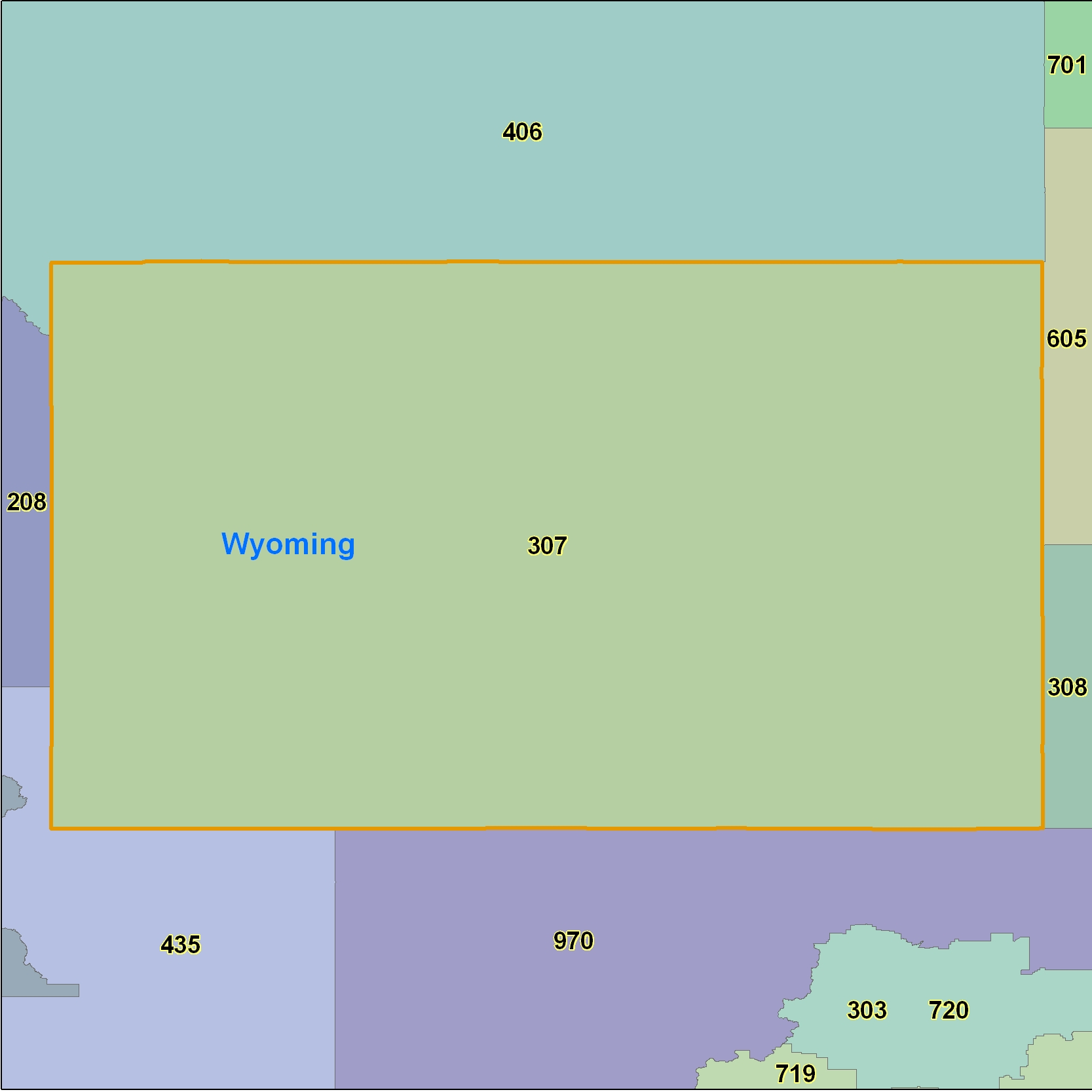 Wyoming (WY) Area Code Map