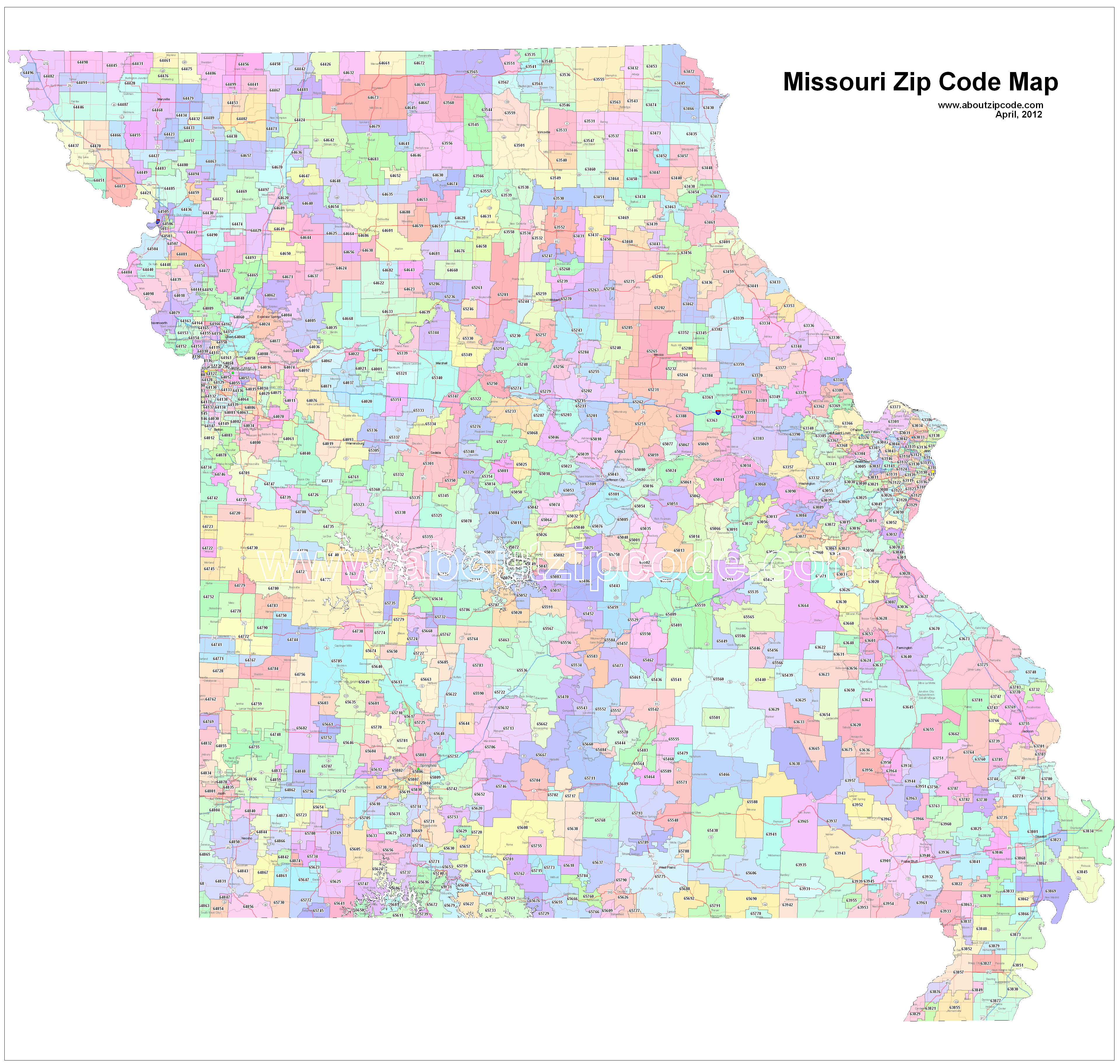 Missouri (MO) Zip Code Map